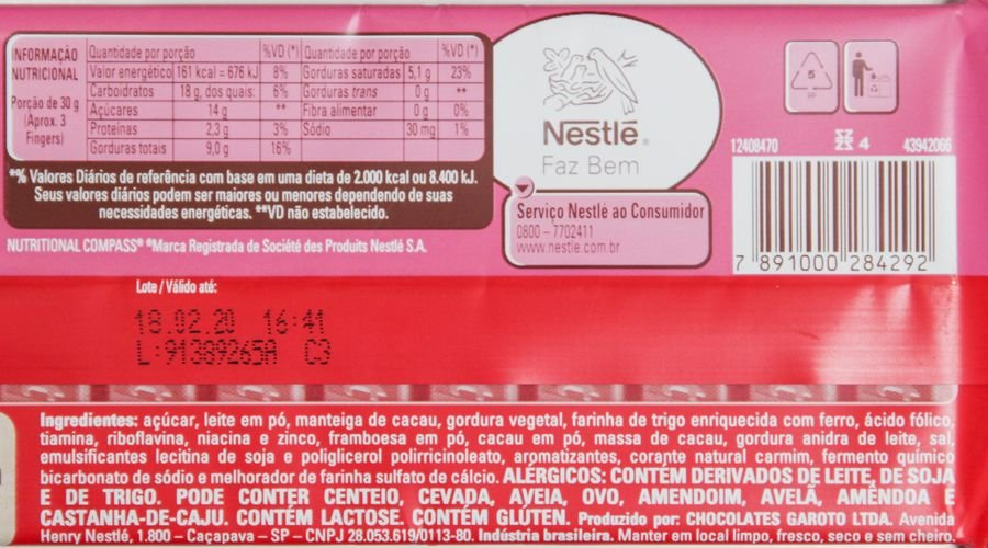 Lista de ingredientes e tabela nutricional do Kit Kat Framboesa