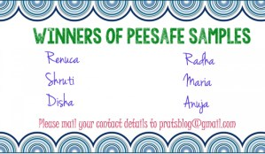 Pee Safe Sample Giveaway winners