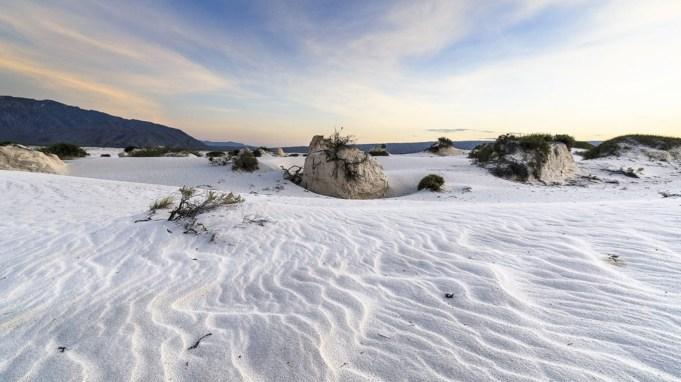arena blanca, cielo, dunas de yeso