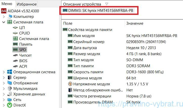 AIDA64 toont informatie alleen door één RAM-strip