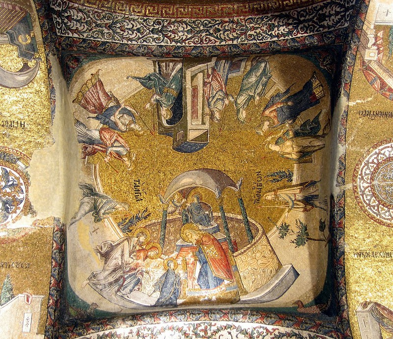 Entrance into the temple of the Most Holy Theotokos. Mosaic in Chora Monastery, Instanbul