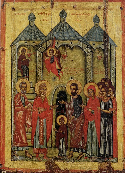 Entrance into the temple of the Most Holy Theotokos. Russian icon of the 14th century. The Russian State Museum