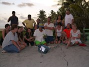 Getting ready to put the turtle eggs in their new nest