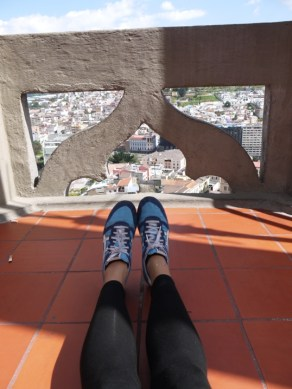 We climbed up some very rickety stairs to the top of one of the spires of the basilica. Our legs were a little shaky so high up so it was preferable to admire the view by sitting on the floor, rather than standing up!