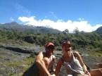 Your correspondents, relaxing in front of Volcano Villarrica