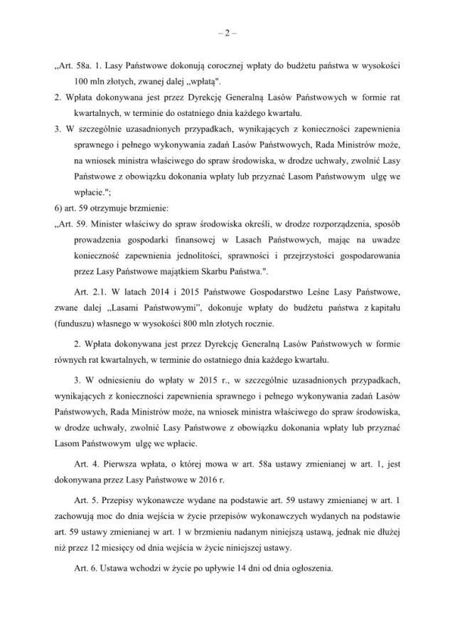 Projekt ustawy w dniu 4.2.20142