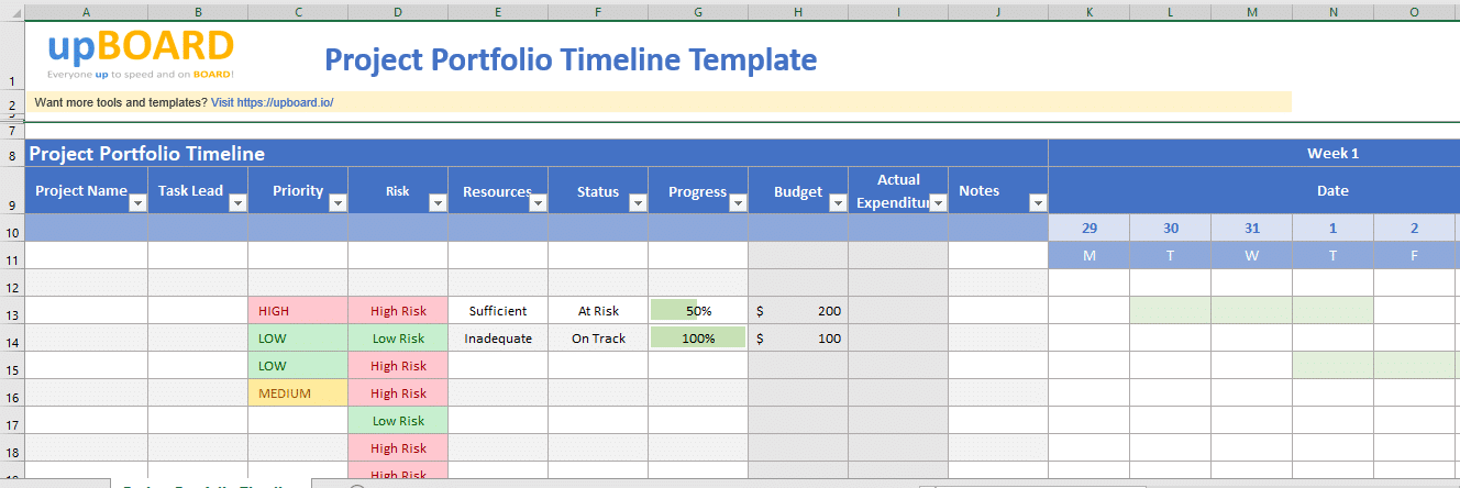 These free timeline templates are visually appealing and feature a variety of styles, colors, formats, illustrations, and infographics. Project Portfolio Timeline Free Online Tools Templates