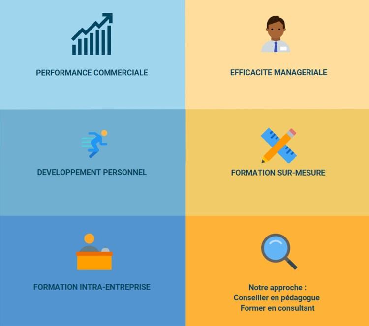 Performance commerciale Efficacité managériale développement personnel formation sur-mesure formation intra-entreprise Notre approche : Conseiller en pédagogue et former en consultant