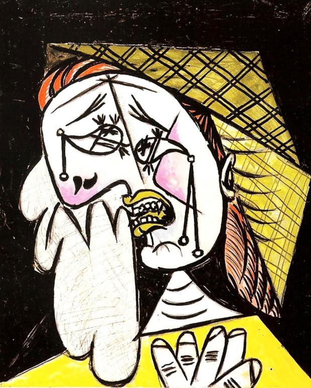 weeping woman with handkerchief
