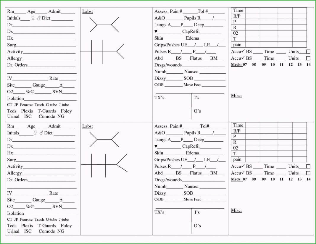 Nursing Report Sheet Template Examples Templates Icu