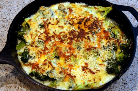 broccoli au gratin skilletful
