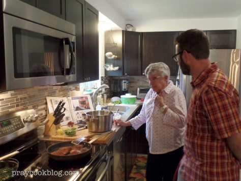 Cory and his sous-chef dish-washing Grandma!