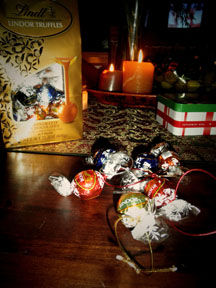 Lindt chocolate balls make the best ornaments.