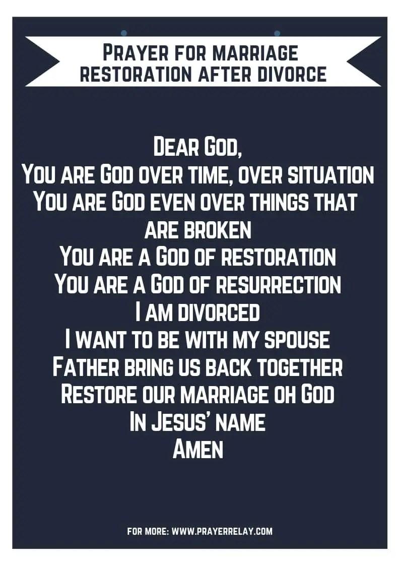 Prayers for marriage restoration after divorce
