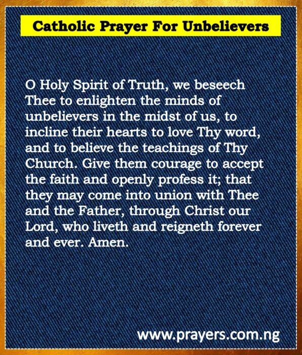 Catholic Prayer For Unbelievers