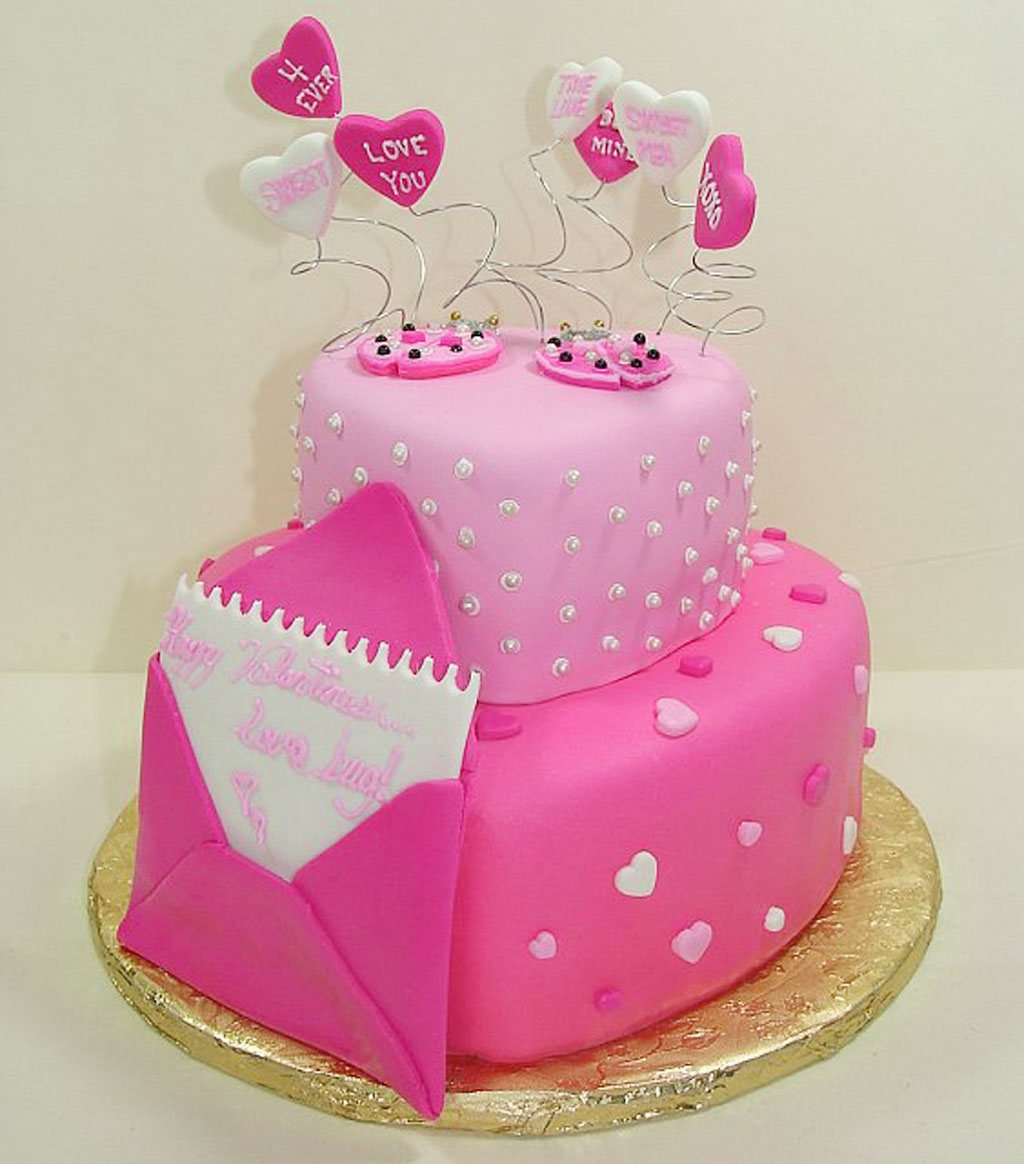 Fondant Finish Layer Cake Valentines Day Valentine Cakes