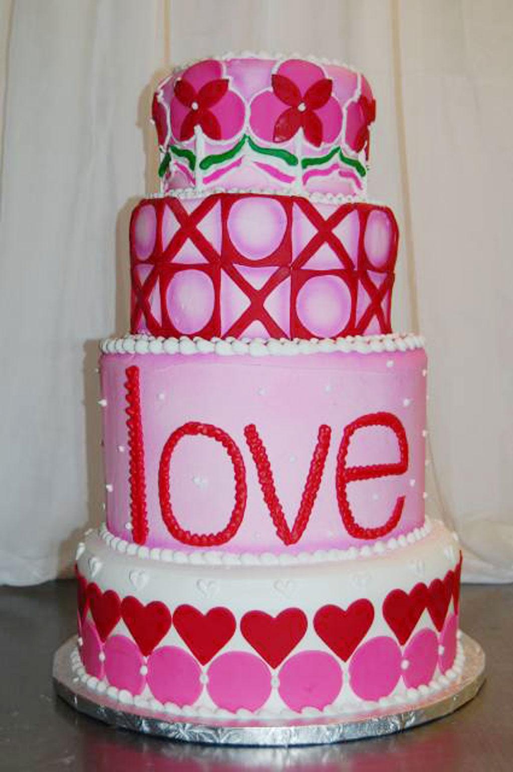 Valentines Fondant Shapes Tier Cake Valentine Cakes