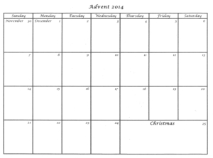 Advent Calendar Templates 2014 Praying In Color