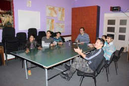 The Christmas party for the boy's discipleship group in Rankovce included singing, charades, and in indoor snowball fight.