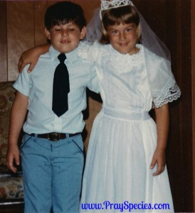 Yes - that's me and my brother on my first communion.  I loved that dress!