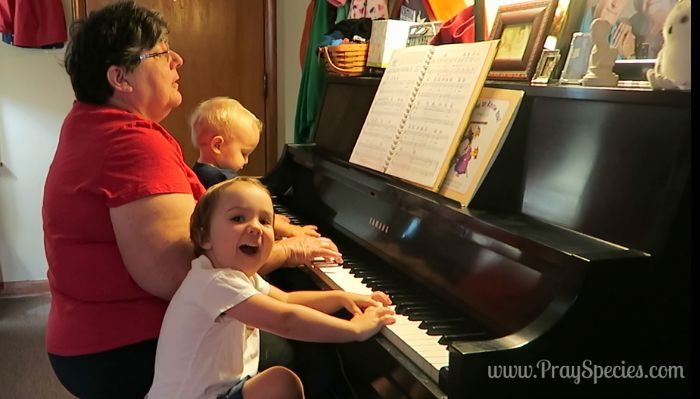 picture at the piano with ladybug and owl