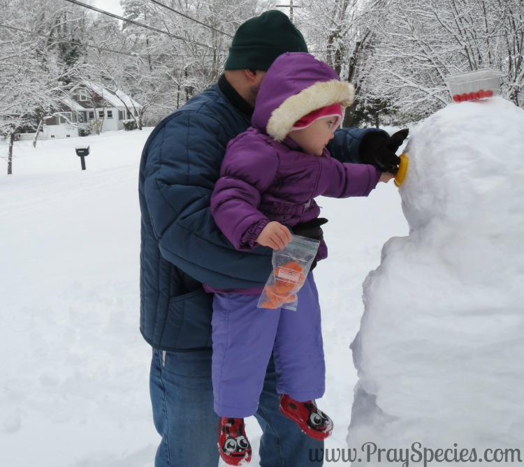 Ladybug helping Daddy with the Snowman