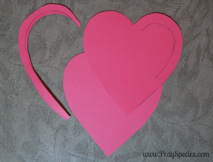 cut out the parallel line on the left and separate the hearts