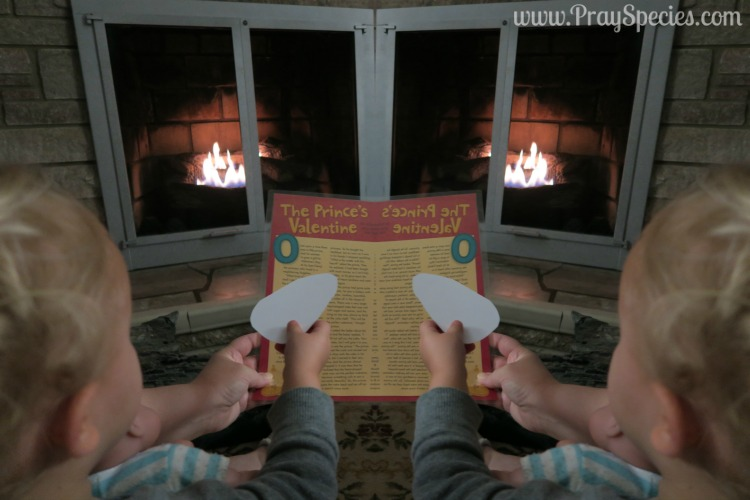 Reading our Valentine's Story by the Fire