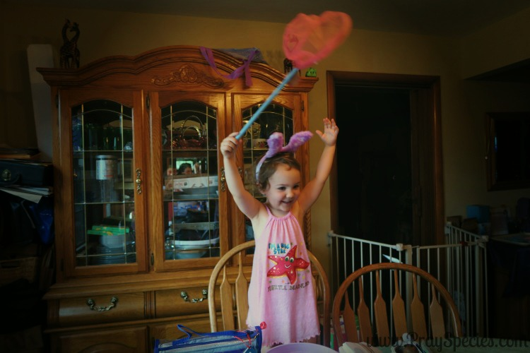 Ladybug is super excited about her butterfly net the Easter bunny brought!After being caught in it numerous times now, her brother is less so......