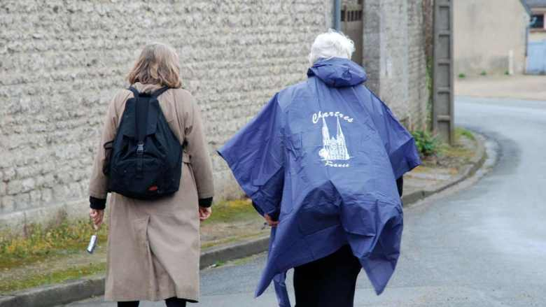 Pilgrims walking to Chartres from Bercheres les Pierres