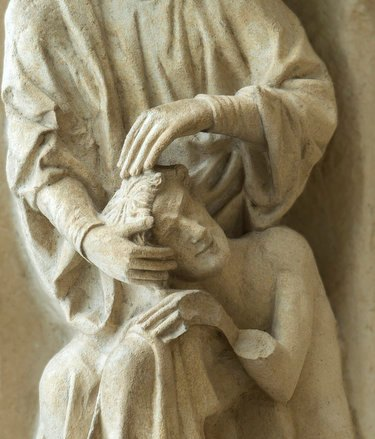 God creating humanity, thirteenth century sculpture