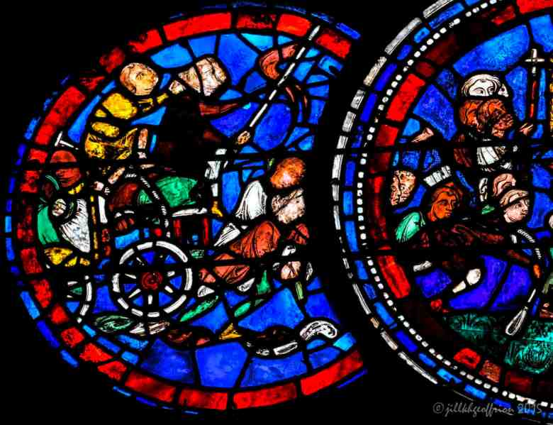 People pulling supplies to build the Chartres Cathedral, The Miracles of Mary Window (13th century)