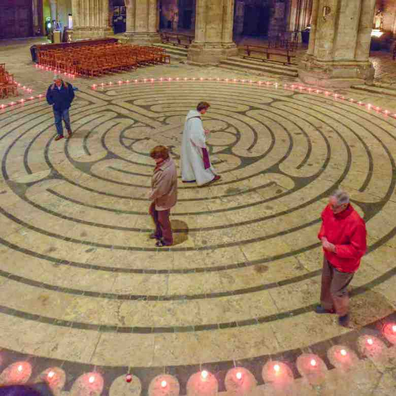 Retreatants walk the labyrinth after hours by Jill K H Geoffrion