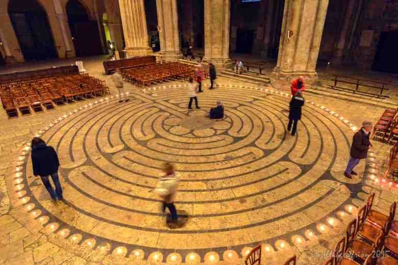 Group labyrinth walk at night by Jill K H Geoffrion