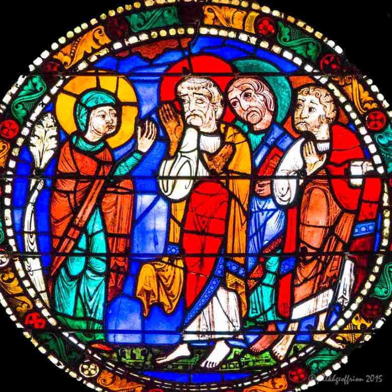 Mary telling the disciples about Jesus'resurrection in the Passion and Resurrection Window by Jill K H Geoffrion