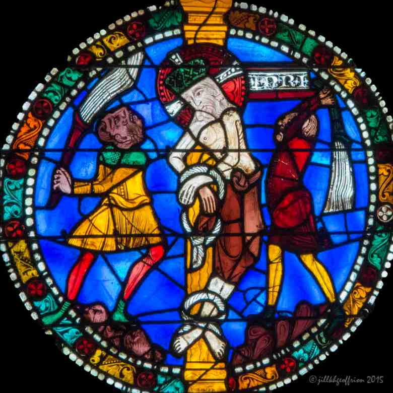 The whipping of Jesus in the Passion and Resurrection Window by Jill K H Geoffrion