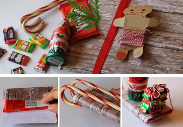 Упаковка конфет в виде саней