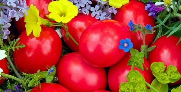 Яйца красного цвета