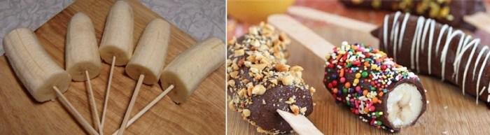 мороженое из половинок бананов - отличный десерт на детский день рождения