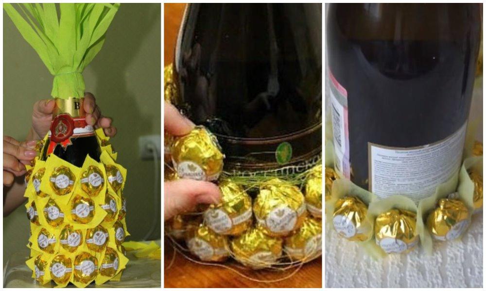 ананас из шампанского бескаркасный способ