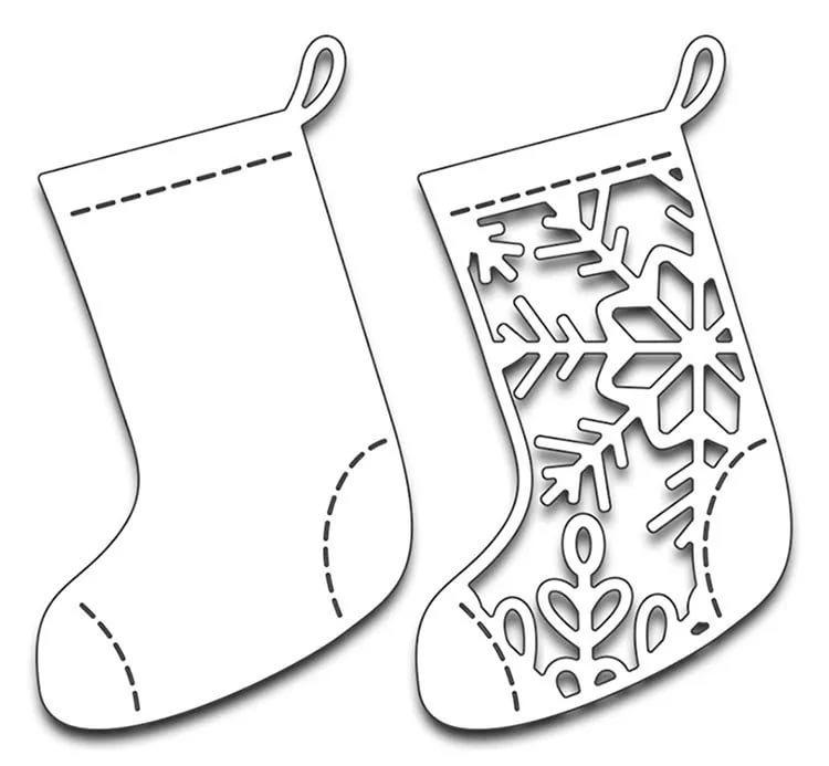 трафарет новогодние носки