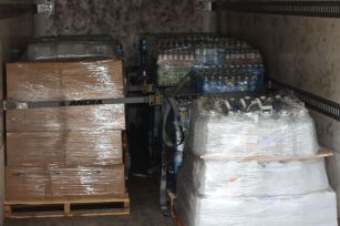 9 pallets of water.
