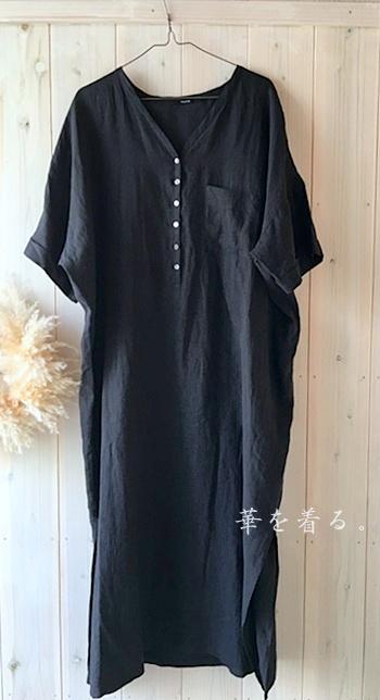 黒の半袖リネンワンピース