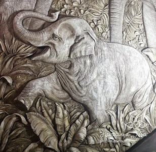 Декоративное панно «Слоны»