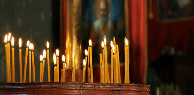 Candles at vespers in a church