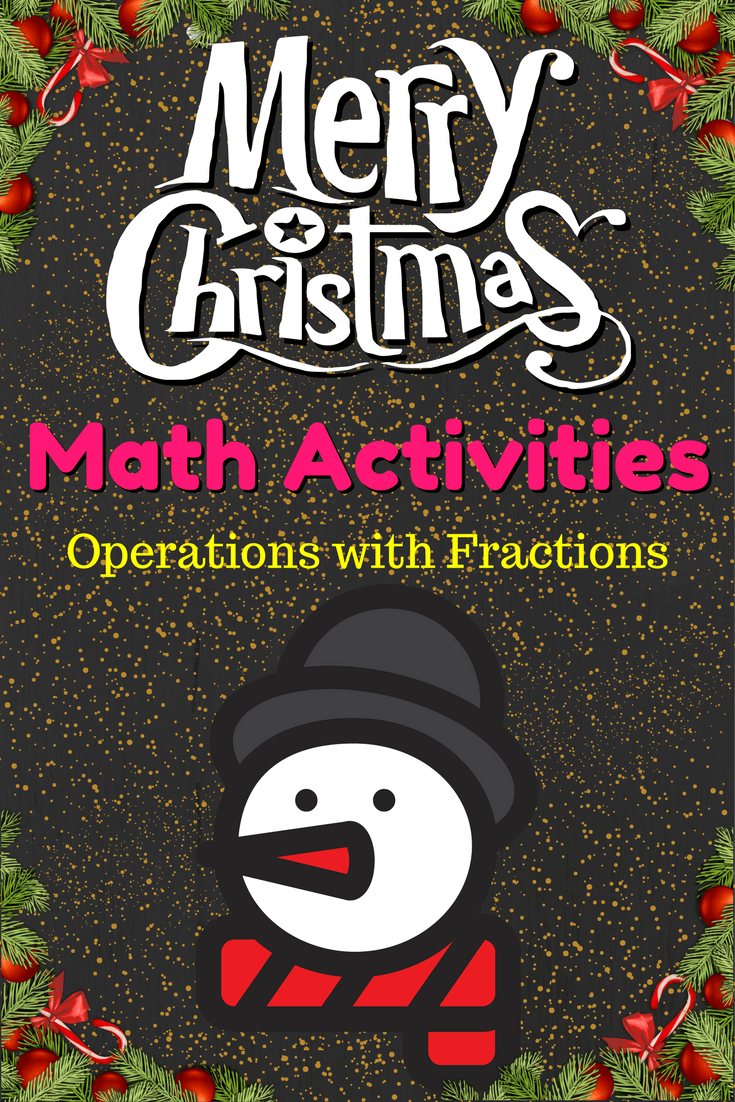 Christmas Activities Operations with Fractions Worksheet Pinterest