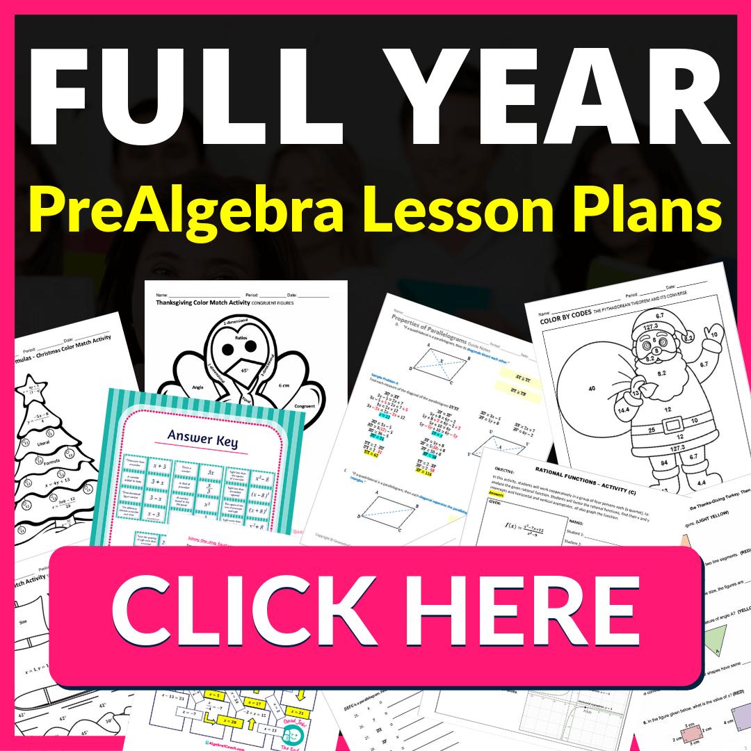 FULL YEAR PreAlgebra Lesson Plans