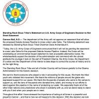 Standing Rock Tribe's Chairman David Archambault II statement on the U.S. Army Corps of Engineers decision to not grant easement.