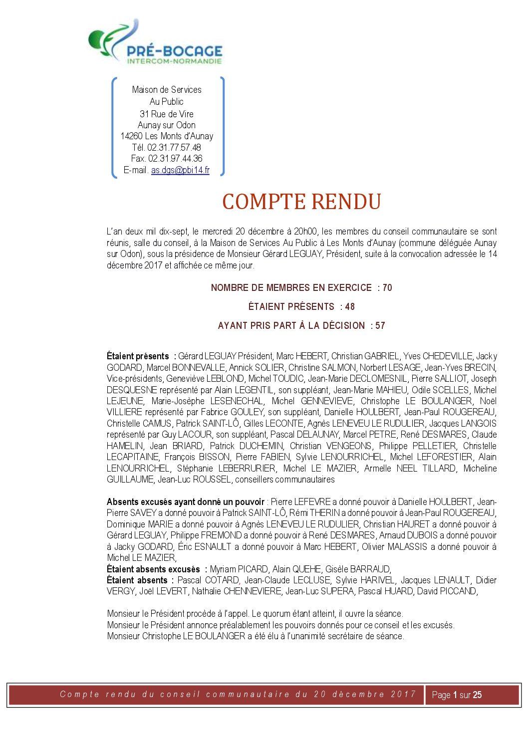 Compte-Rendu du 20 décembre 2017
