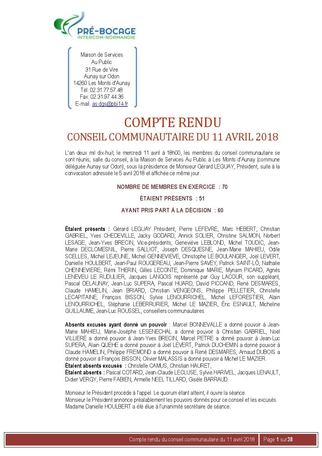 Compte-Rendu du 11 avril 2018